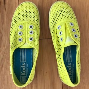 Keds Neon Yellow Laceless Sneakers, Size 6.5M